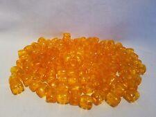"Lot of 150 Orange Clear Plastic Small Barrel Macrame Craft Beads 12mm 1/2"""