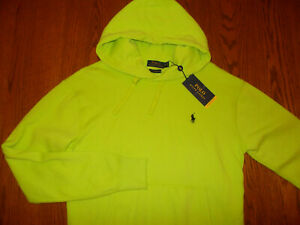 NWT RALPH LAUREN PERFORMANCE BRIGHT GREEN HOODED SWEATSHIRT MENS SMALL