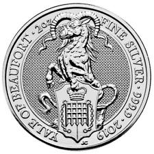 2019 Reino Unido 5 libra Silver Queen's Beast Yale of Beaufort. 9999 2 OZ BU