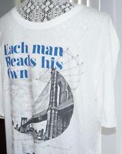 David Bitton Crew Neck T-Shirt Pullover Nalou Men's L White Cotton Modal Graphic