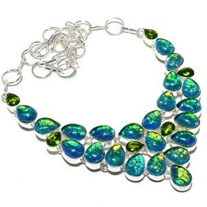 """Triplet Fire Opal, Peridot Handmade 925 Silver Jewelry Necklace 18"""" PK402"""