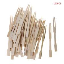 100Pcs Bamboo Disposable Wooden Fruit Fork Pick Dessert Forks Tableware Party
