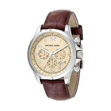 Michael Kors Watch mk8115 Mens Chronograph Leather Brown Wrist Watch Date NEW