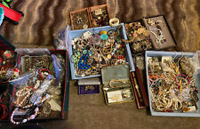 LARGE LOT VINTAGE COSTUME JEWELRY Almost A Pound  Grab Bag