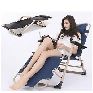 New  Sun Lounger Folding Chair Bed Recliner Garden Reclining Head Armrest