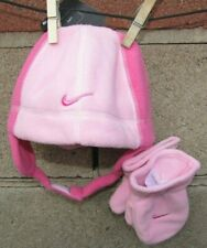 Nike Hat mitten Beanie set toddler girls Size 2t 3t 4t pink white Xmas CUTE new