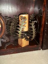 POTTERY BARN 12 INCH FERN LUMINARY PILLAR CANDLE HOLDERS WOOD METAL