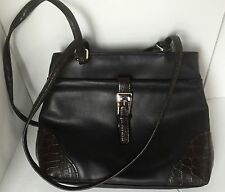 Strap Shoulder Bag Purse Black Check Book Credit Card Compartment ( NEW )