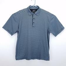Callaway Men's Short Sleeve Blue Striped Polo Golf Shirt - Size Large - Cotton
