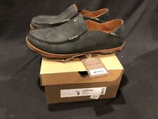 OLUKAI MALOA Mens Slip-on shoes slippers Black / Toffee Leather 10128-4033 SZ 9