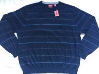 NWT Izod Mens Sweater XXL Navy Blue Stripe Crew Neck Long Sleeve Wool Blend