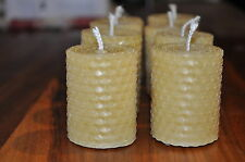 Handmade  Pure Rolled Beeswax VOTIVE Candles: set of 4 candles