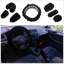 3Pcs Vevet Warm Winter Steering Wheel Cover Woolen Handbrake Car Accessory Set