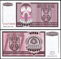 Bosnia Herzegovina Serbia 50000000 - 50 Million Dinar,1993, Unc but aUNC, P-145a