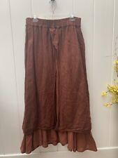Cynthia Ashby Burgundy Brown Linen Skirt Stretchy Waist Super Comfy XL