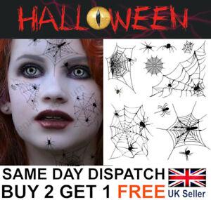Halloween Spider Web Temporary Tattoos Spooky Transfers Costume Make-Up Kit UK