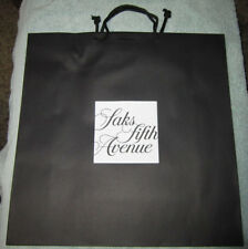 """SAKS FIFTH AVENUE Large Shopping Paper Tote Gift Bag 17""""x17"""" w/ribbon hole"""