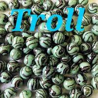 "10 Marbles Troll 5/8"" Mega / Vacor Marbles ☆ Pistachio Green W/Black Swirls"