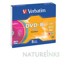 5 VERBATIM DVD-R 16X non stampabile SLIM DISCHI VUOTI A COLORI 4.7GB 120 min. 43557