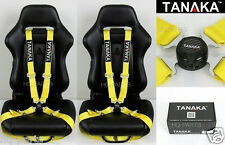 2 TANAKA UNIVERSAL YELLOW 4 POINT CAMLOCK QUICK RELEASE RACING SEAT BELT HARNESS