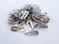 10 x HAIR PIECE CLIP EXTENSIONS SNAP CLIPS SMALL SILVER 2.2 cm NO SILICONE