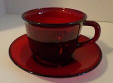 Red Cup and Saucer Glass
