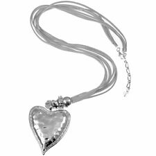 Large chunky heart silver color pendant grey suede fashion long 95cm necklace