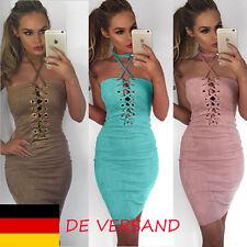 Damen Neckholder Riemchen Bandeau Slim Sommer Partykleid Minikleid Häckelkleid