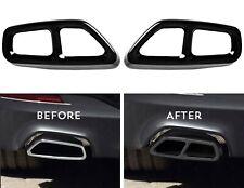 2 x Black Chrome Auspuffblenden Edelstahl Abdeckung Auspuff für BMW G30 G31 A10