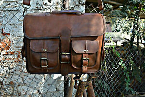 Bag Leather Real Laptop Messenger Satchel Shoulder Briefcase S Vintage Brown New