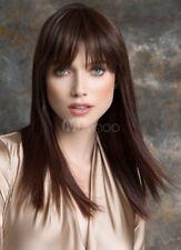 100% Human Hair Natural Flowing Brown Long Straight Ladies Blunt Head Tassel Wig