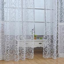 Flocking Floral Tulle Voile Door Window Curtain Drape Panel Sheer ScarfValances~