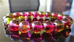 "Crackled Watermelon Tourmaline bead bracelet MEN WOMEN Stretch AAA 10mm - 7.5"""