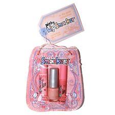 SMACKERS*4p Set IN THE PINK Lip Balm+Gloss+Nail Polish PINKY BAG Raspberry Melon
