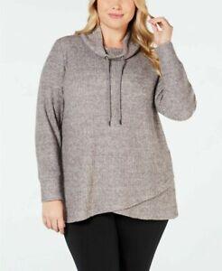 Ideology Women's Plus Size Cowl-Neck Tulip-Hem Top Dark Gray Size 1X $55