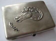ANTIQUE RUSSIAN 875 STERLING SILVER HORSE HORSESHOE CASE 164 GR MAKER ИА