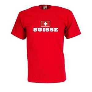 T-Shirt SCHWEIZ (Suisse), Flag Shirt Herren Fanshirt mit Flagge (WMS02-56a)