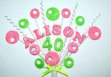Funky Paillettes 18, 21 birthday cake topper personnalisé tout nom et âge