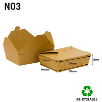 No 3 Kraft Food Box Deli Takeaway Noodles Rice Pasta Folding Lids Biodegradable