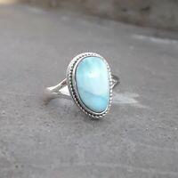 Larimar Women Ring Solid 925 Sterling Silver Anxiety Ring Meditation Ring SR019