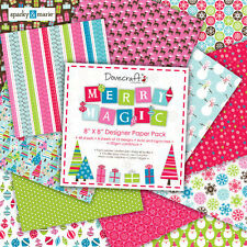"Dovecraft Merry Magic 8"" x 8"" Designer Carta Pacco PACCO COMPLETO"