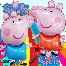 New 2pc Peppa Pig and George Bicycle Hero Birthday Party Balloon !! HUGE !!