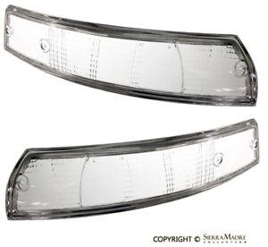 Turn Signal Lens Clear Set, Euro, Chrome Trim, Porsche 911/912/930 (69-73)