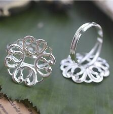 20PCS Silver Plate Spiral Heart Round 18mm Blank Setting Adjustable Rings