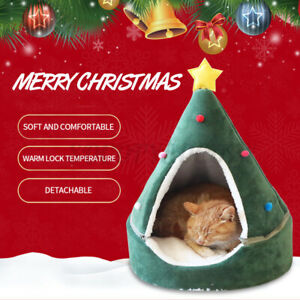 Christmas Pet Cat Dog House Kennel Puppy Sleeping Cave Bed Winter Warm Soft