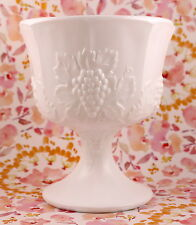 Vintage Indiana White Milk Glass Footed Compote Colony Harvest Grape Pattern