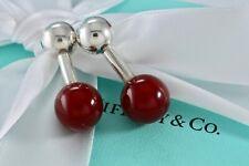 RARE Tiffany & Co. Sterling Silver Carnelian Barbell Cufflinks w/Packaging