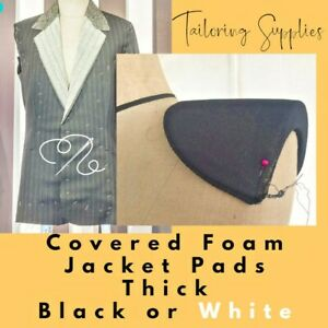 FOAM - COVERED - JACKET SHOULDER PADS - THICK - BLACK & WHITE - TAILORING SEWING