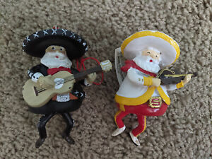 Kurt Adler Mexican Santa Playing Instruments Ornament - Set of 2 (slight defect)