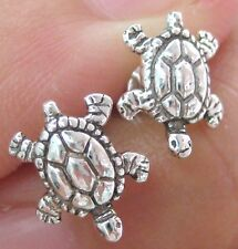 REAL 925 STERLING SILVER PLAIN OXIDISED TURTLE ANIMAL STUDS EARRINGS women girl
